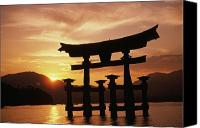 Asian Art Canvas Prints - Miyajima Torii Canvas Print by Rita Ariyoshi - Printscapes