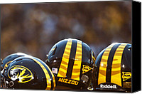 Team Canvas Prints - Mizzou Football Helmet Canvas Print by Replay Photos