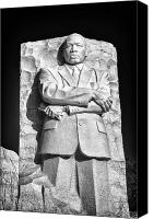 Washington Dc Canvas Prints - MLK Memorial in Black and White Canvas Print by Val Black Russian Tourchin