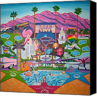 Airplane Painting Canvas Prints - mmmm... Palm Springs Canvas Print by Randall Weidner