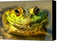 Bullfrogs Canvas Prints - MMmmm Dinner Canvas Print by Ernie Echols
