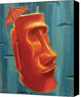 Polynesian Pop Canvas Prints - Moai Mai Tai Canvas Print by Shawn Shea