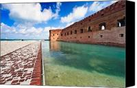 Moat Canvas Prints - Moat and Walls of Fort Jefferson Canvas Print by George Oze