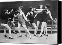 Group Of Women Canvas Prints - Mock Boxing Canvas Print by Topical Press Agency