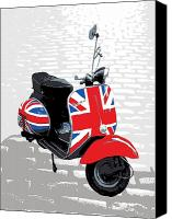 Red White Blue Canvas Prints - Mod Scooter Pop Art Canvas Print by Michael Tompsett