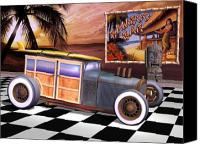 Custom Ford Digital Art Canvas Prints - Model T Surf Woody Canvas Print by Stuart Swartz
