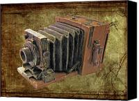 Rangefinder Canvas Prints - Model vintage Field camera Canvas Print by Kenneth William Caleno