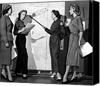 1950s Fashion Canvas Prints - Models Exhibit The New Blue Uniforms Canvas Print by Everett