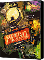 Lamps Painting Canvas Prints - Modern Abstract Metro Paris Lamp and Sign Canvas Print by Ginette Fine Art LLC Ginette Callaway