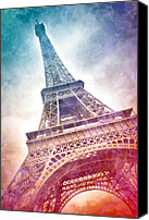 Attraction Digital Art Canvas Prints - Modern-Art EIFFEL TOWER 21 Canvas Print by Melanie Viola