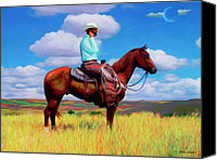 Cowboy Mixed Media Canvas Prints - Modern Cowboy Canvas Print by Snake Jagger