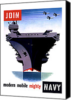 Propaganda Canvas Prints - Modern Mobile Mighty Navy Canvas Print by War Is Hell Store