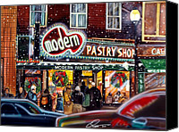 Modern Drawings Canvas Prints - Modern Pastry of Boston at Christmas Canvas Print by Dave Olsen