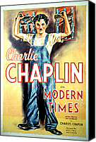 T-shirt Photo Canvas Prints - Modern Times, Charlie Chaplin, 1936 Canvas Print by Everett