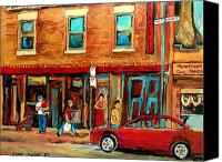 Resto Cafes Canvas Prints - Moishes Steakhouse On The Main By Montreal Streetscene Painter Carole  Spandau  Canvas Print by Carole Spandau