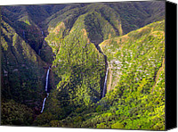 Molokai Canvas Prints - Molokai Hawaii Waterfalls Canvas Print by Scott McGuire