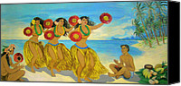 Molokai Canvas Prints - Molokai Hula 2 Canvas Print by James Temple