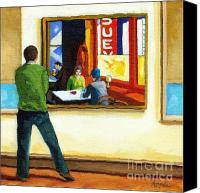 Linda Apple Canvas Prints - Moments with Hopper - portrait oil painting Canvas Print by Linda Apple