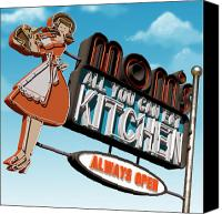 Sign Canvas Prints - Moms Diner Canvas Print by Anthony Ross