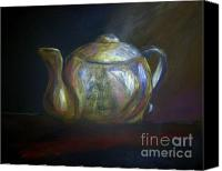 Rabbit Pastels Canvas Prints - Moms Teapot - Alice Canvas Print by AE Hansen