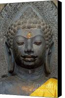 Valuable Canvas Prints - Mon Stone Buddha Head - Thailand Canvas Print by Craig Lovell