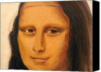 London Drawings Canvas Prints - MONA LISA  zoom of the face Canvas Print by Patty Meotti