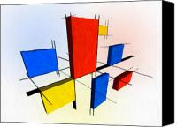 Yellow Mixed Media Canvas Prints - Mondrian 3D Canvas Print by Michael Tompsett