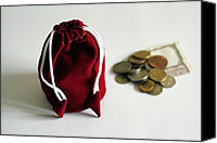 Cloth Tapestries - Textiles Canvas Prints - Money bag coins and currency notes Canvas Print by Sudarshan Vijayaraghavan