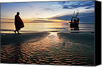 Huahin Canvas Prints - Monk Walk For Food On The Beach Canvas Print by Arthit Somsakul