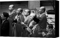 Praying Canvas Prints - Monks chanting - Jingan Temple Shanghai Canvas Print by Christine Till - CT-Graphics
