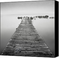 Jetty Canvas Prints - Mono Jetty With Sandals Canvas Print by Billy Currie Photography