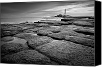 Guidance Canvas Prints - Mono Shot Of Northumbrian Lighthouse Canvas Print by Billy Currie Photography