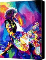 Guitar Painting Canvas Prints - Monolithic Riff - Jimmy Page Canvas Print by David Lloyd Glover