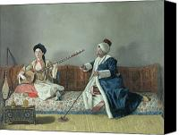 Jean Canvas Prints - Monsieur Levett and Mademoiselle Helene Glavany in Turkish Costumes Canvas Print by Jean Etienne Liotard