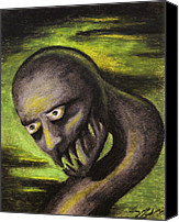Creepy Drawings Canvas Prints - Monster- Green Canvas Print by Sara Coolidge