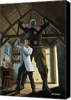 Martin Davey Digital Art Canvas Prints - Monster In Victorian Science Laboratory Canvas Print by Martin Davey