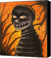 Creepy Drawings Canvas Prints - Monster- Orange Canvas Print by Sara Coolidge
