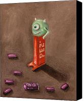 Monster Painting Canvas Prints - Monster Pez Canvas Print by Leah Saulnier The Painting Maniac