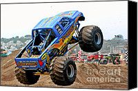 Wheels Canvas Prints - Monster Trucks - Big Things Go Boom Canvas Print by Christine Till