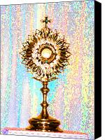 Christian Sacred Digital Art Canvas Prints - Monstrance Canvas Print by Anne Cameron Cutri