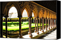 Brittany Canvas Prints - Mont Saint Michel Cloister Canvas Print by Elena Elisseeva