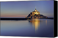 Medieval Canvas Prints - Mont Saint-michel, France Canvas Print by David Min