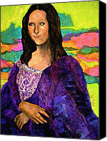 Famous Mixed Media Canvas Prints - Montage Mona Lisa Canvas Print by Laura  Grisham