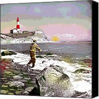 City Island Mixed Media Canvas Prints - Montauk Point Lighthouse Canvas Print by Charles Shoup