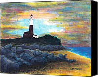 Safety Painting Canvas Prints - Montauk Point Canvas Print by Teddy Campagna