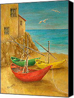 Warm Colors Painting Canvas Prints - Monterosso on Riviera Di Levante Canvas Print by Pamela Allegretto