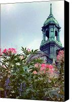 Debbie Canvas Prints - Montreal Bldg among Flowers Canvas Print by Deborah  Crew-Johnson