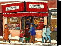 City Streets Canvas Prints - Montreal Hebrew Delicatessen Schwartzs By Montreal Streetscene Artist Carole Spandau Canvas Print by Carole Spandau
