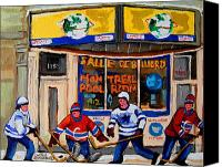 Sports Canvas Prints - Montreal Pool Room City Scene With Hockey Canvas Print by Carole Spandau
