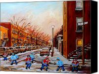 Children Canvas Prints - Montreal Street Hockey Game Canvas Print by Carole Spandau